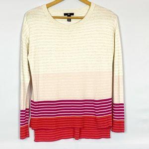 GAP Multi Pink Cream Striped Crew Neck Sweater XS